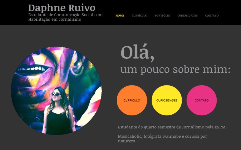 Currículo online de Daphne Ruivo, estudante de jornalismo