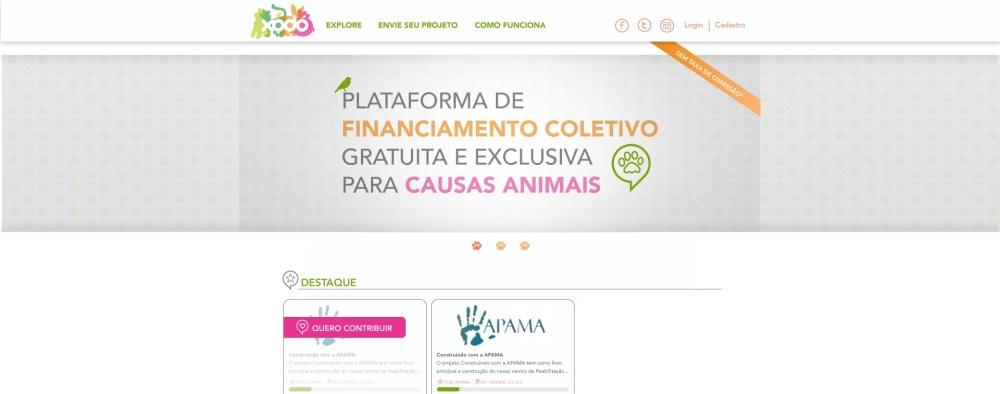 Imagem do site Xodó, uma plataforma de crowdfunding que ajuda causas animais