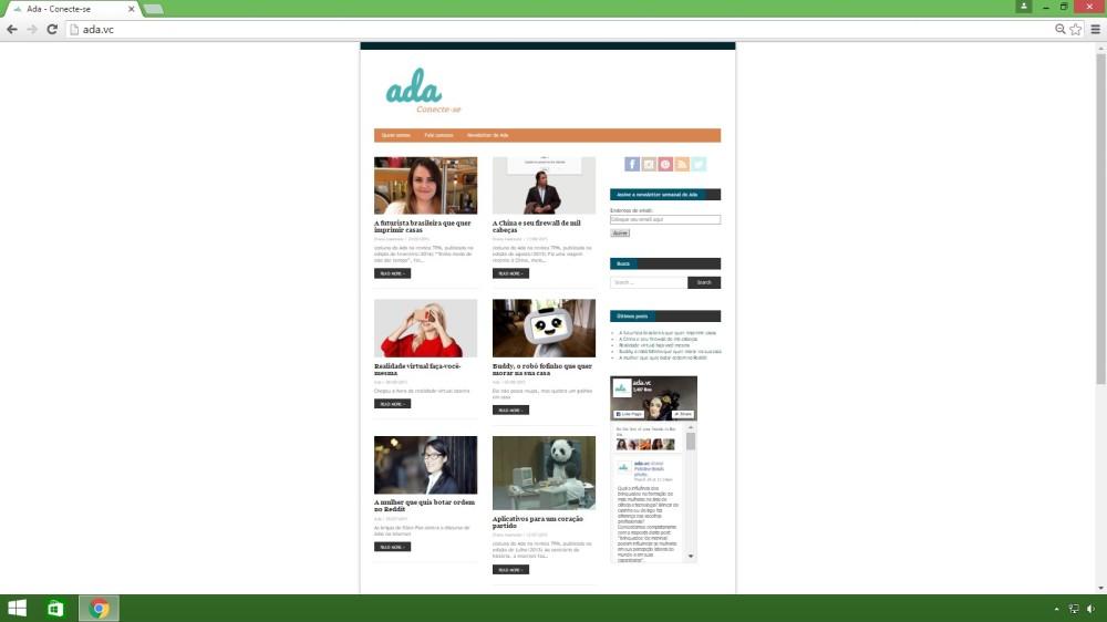 Imagem do site Ada.vc